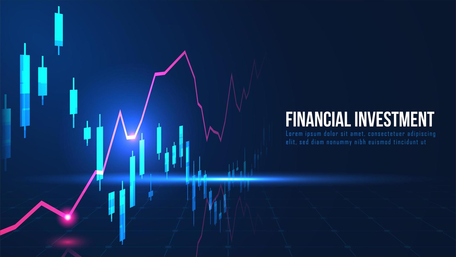 mercado de valores o gráfico de comercio de divisas en concepto gráfico vector
