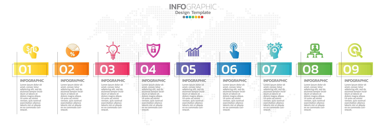 Infografía de línea de tiempo con iconos de marketing y pasos. vector
