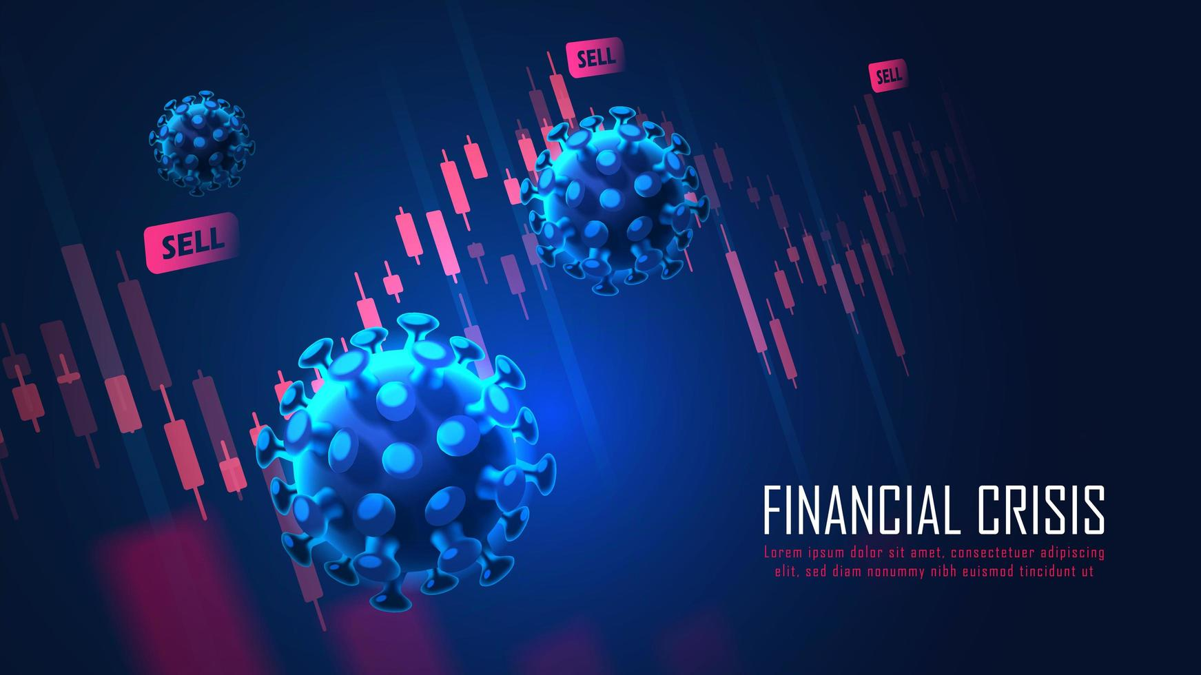 Global Financial crisis from virus pandemic concept vector