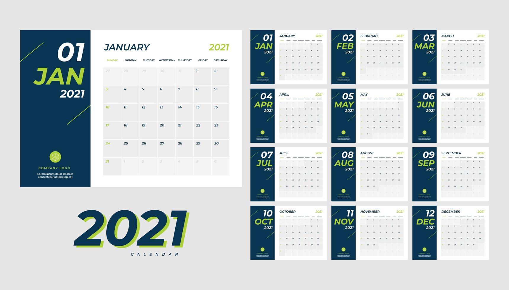 calendario de escritorio mensual año 2021 vector