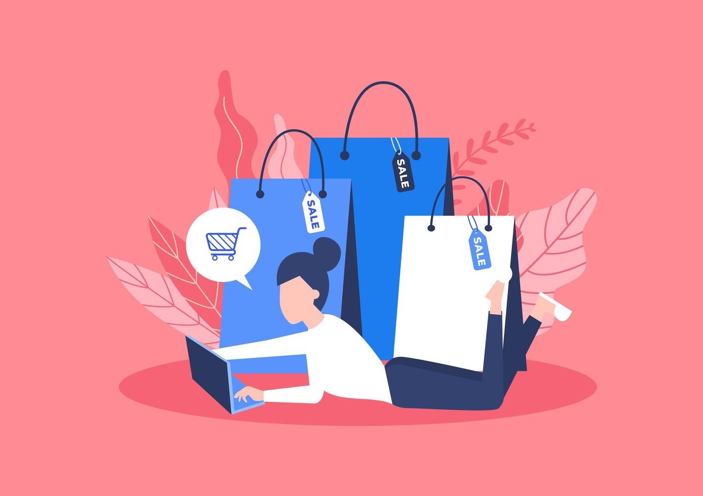 Online shopping concept with bags vector
