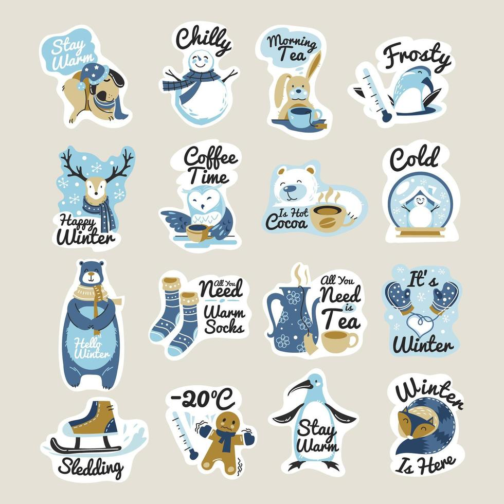 Winter stickers with phrases for Christmas season vector