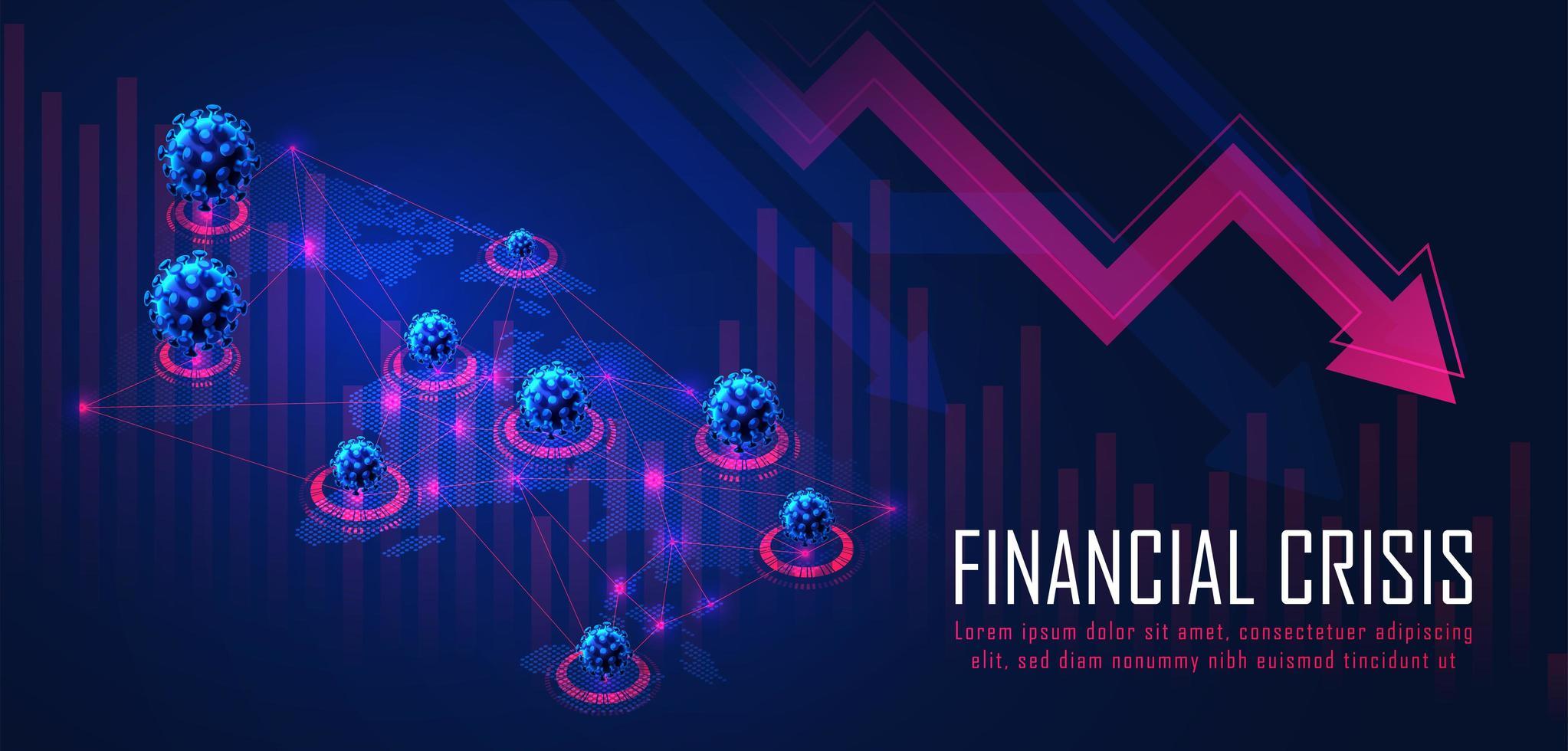 Global Financial crisis from virus pandemic vector