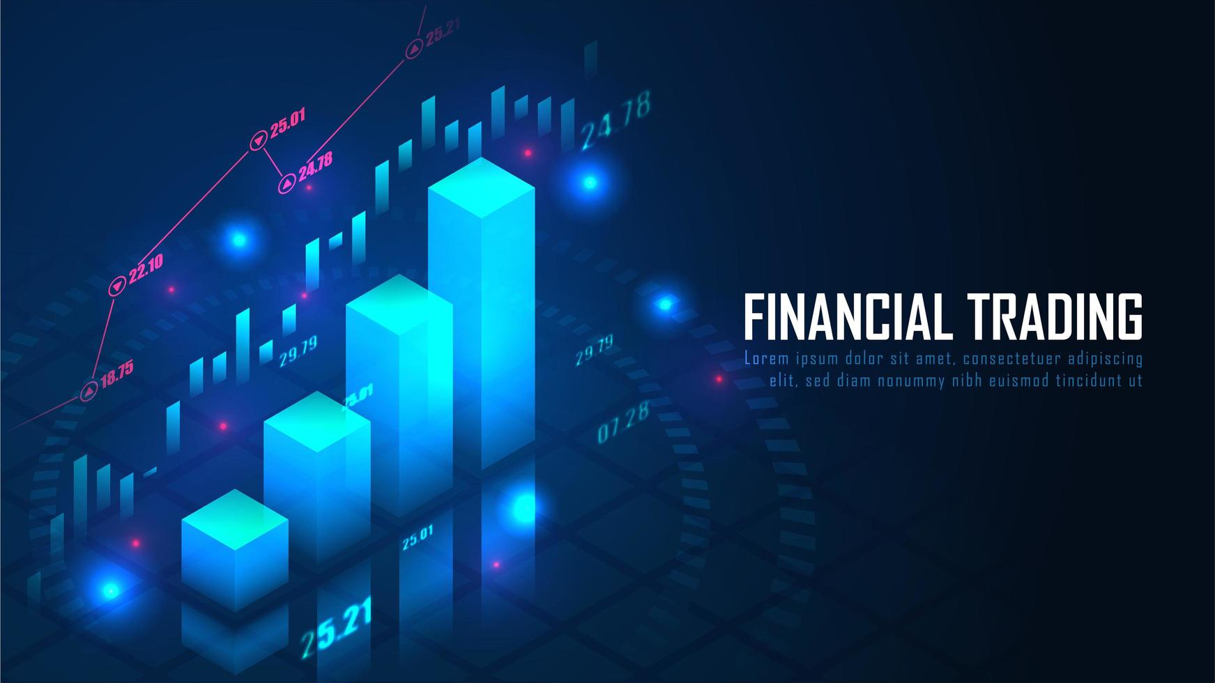 Isometric stock or forex trading graph vector