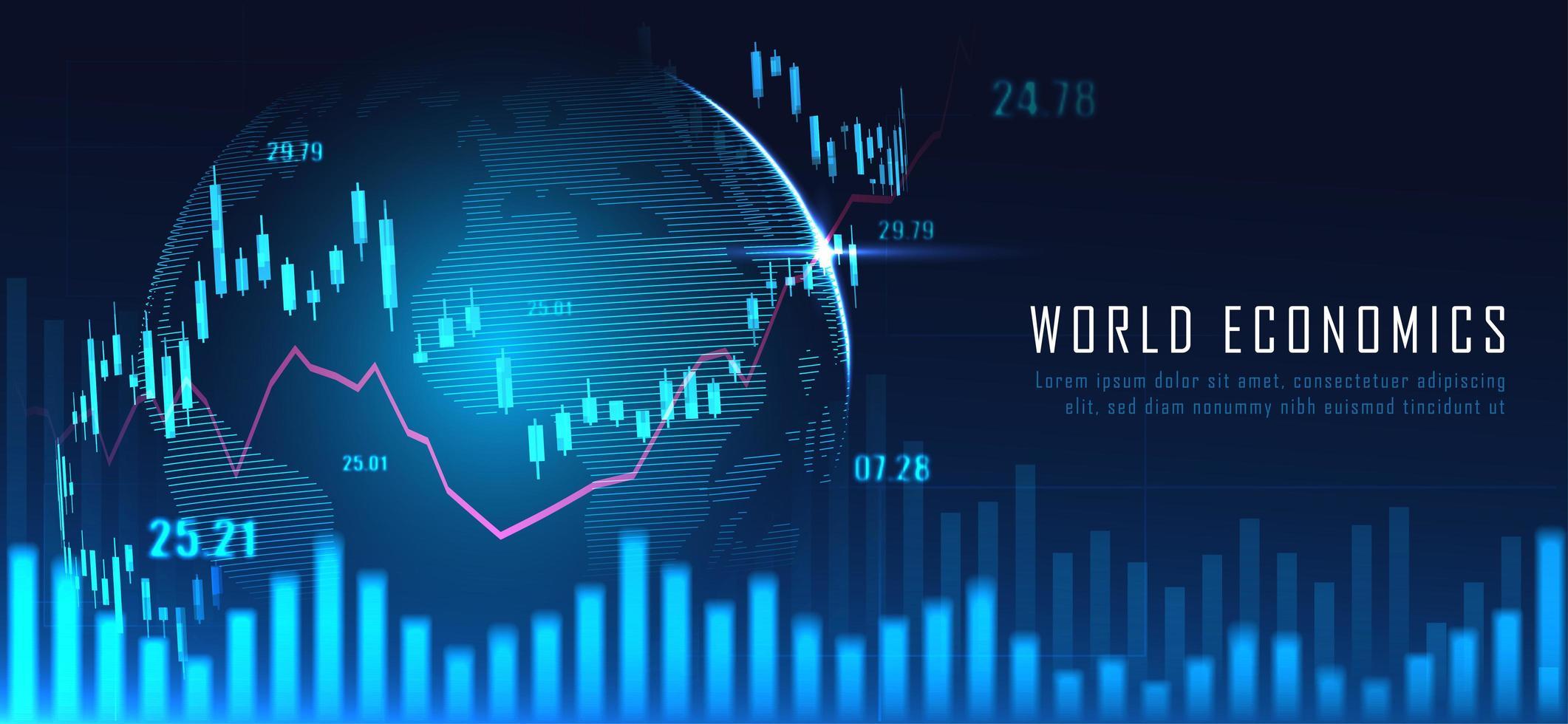 mapa del mundo financiero con gráfico vector
