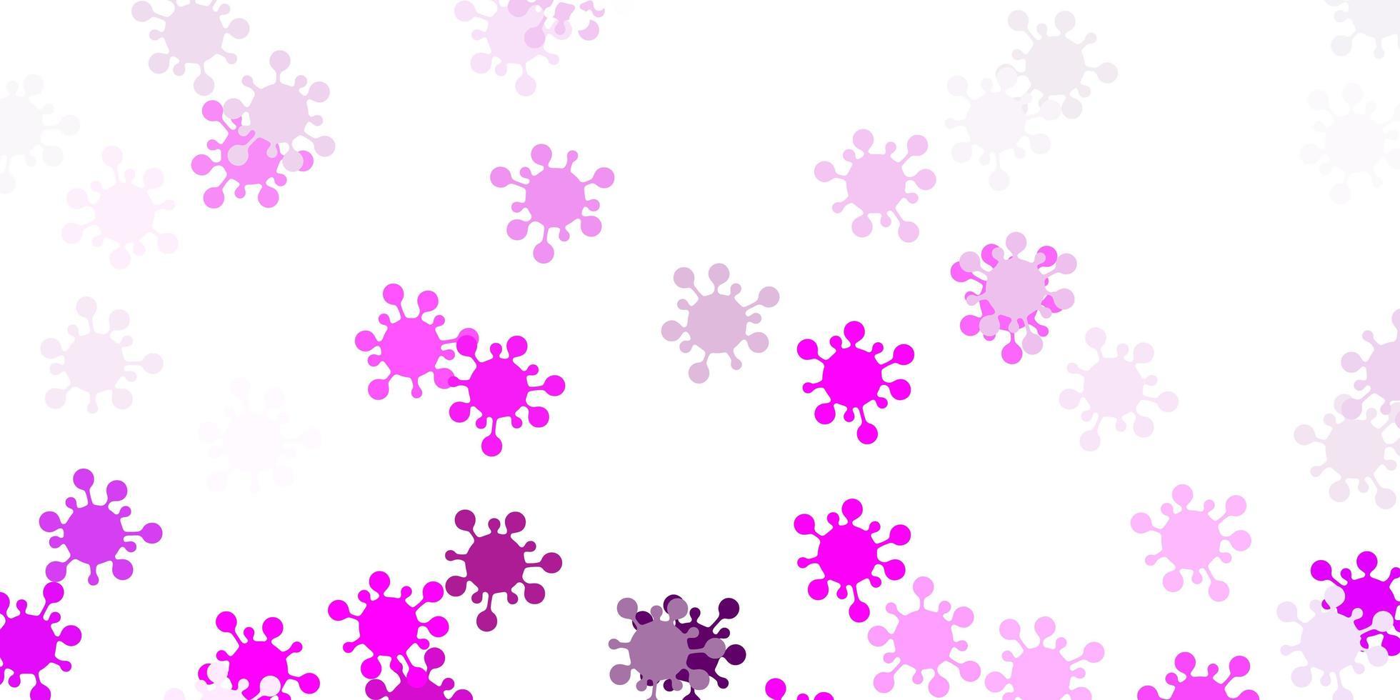 Light purple, pink vector backdrop with virus symbols.