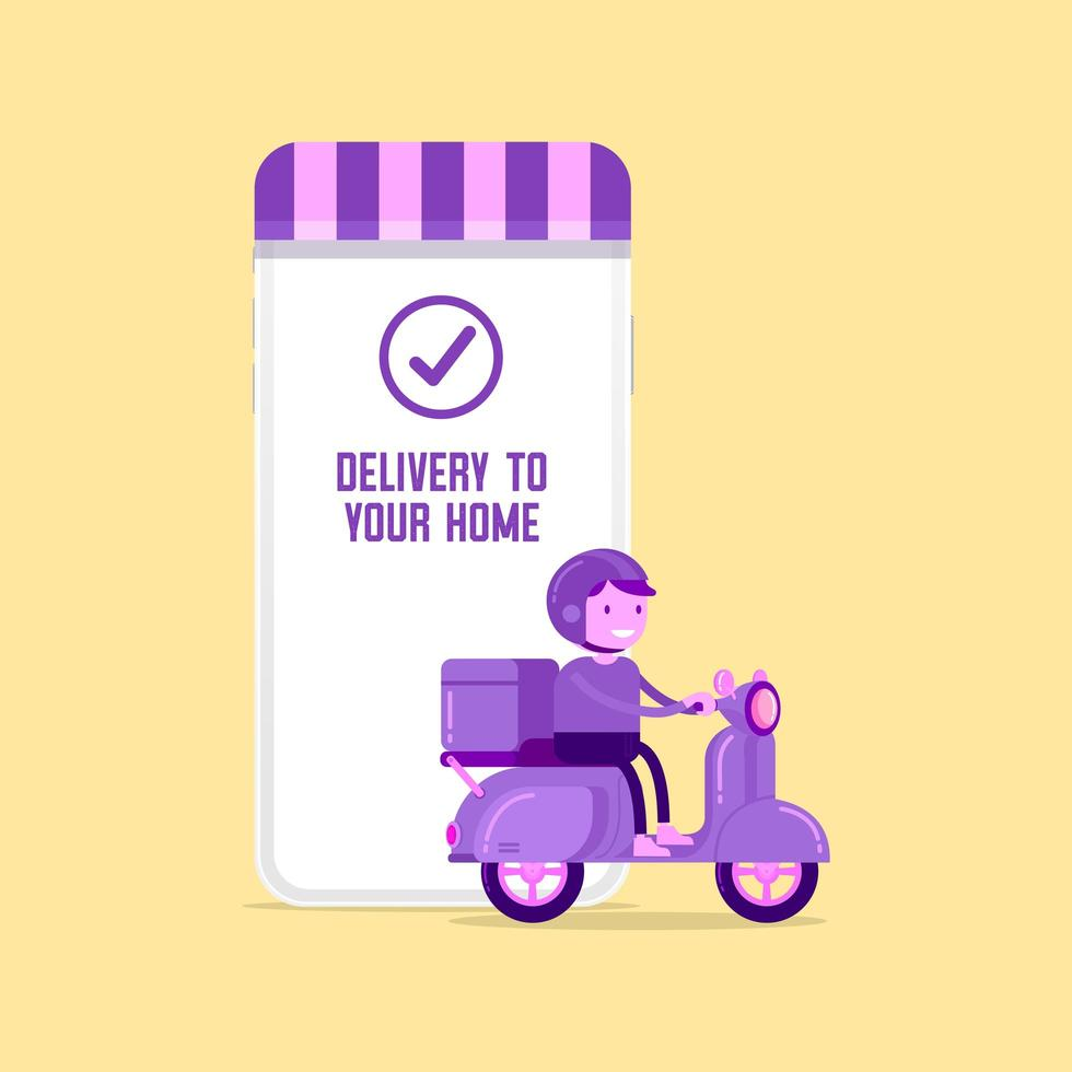 Delivery man riding a scooter next to smartphone vector