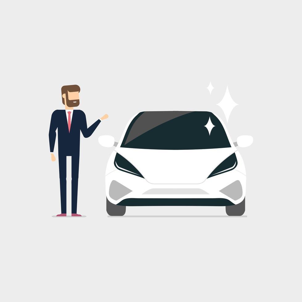 Businessman with new car vector