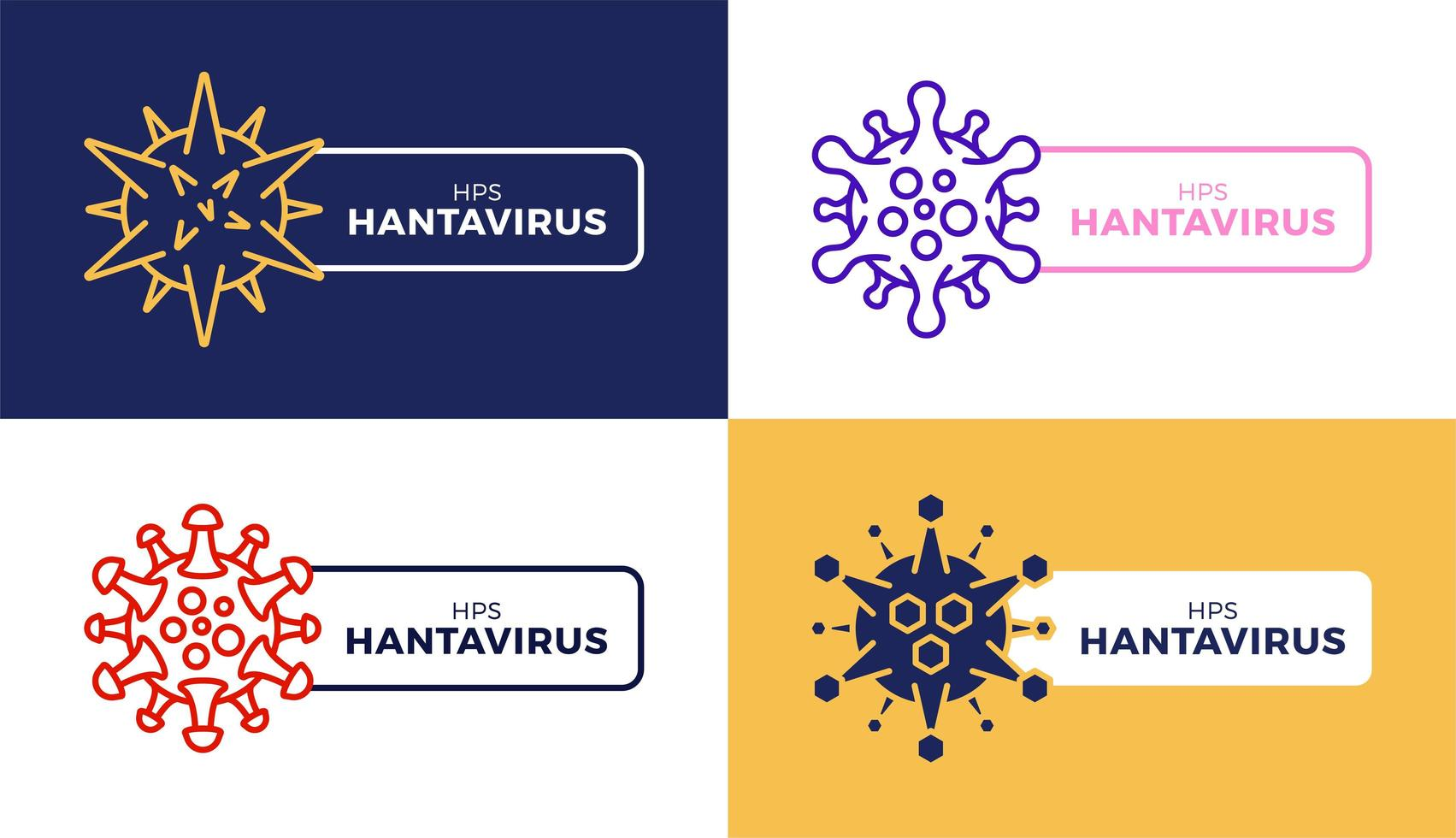 Creative Hantavirus Vector icon badge set