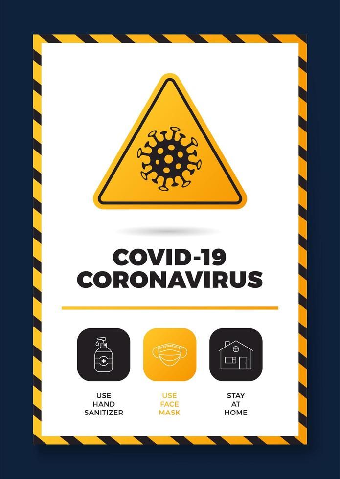 Prevention of COVID-19 all in one icon poster vector