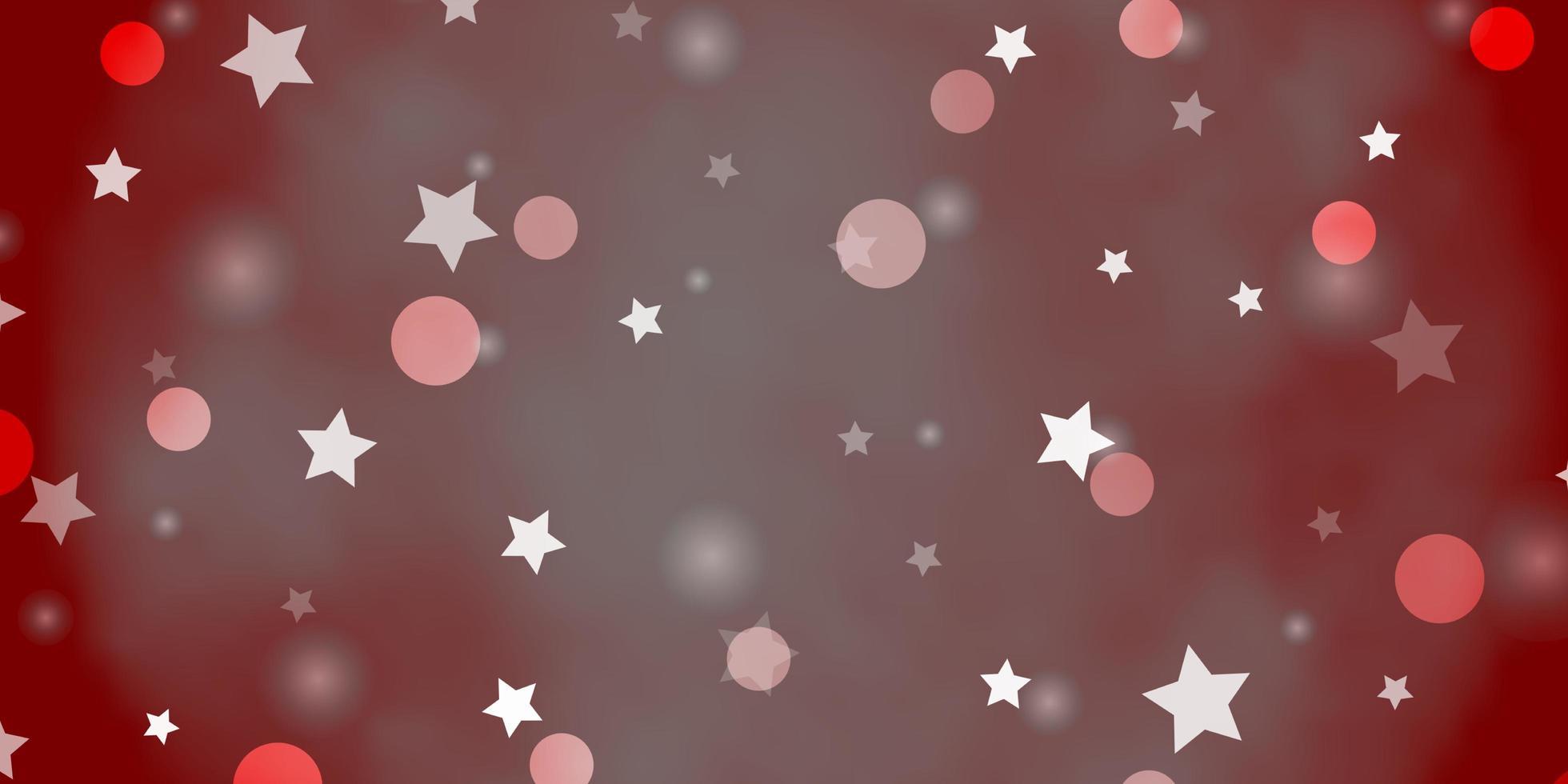 Plantilla de vector naranja claro con círculos, estrellas.