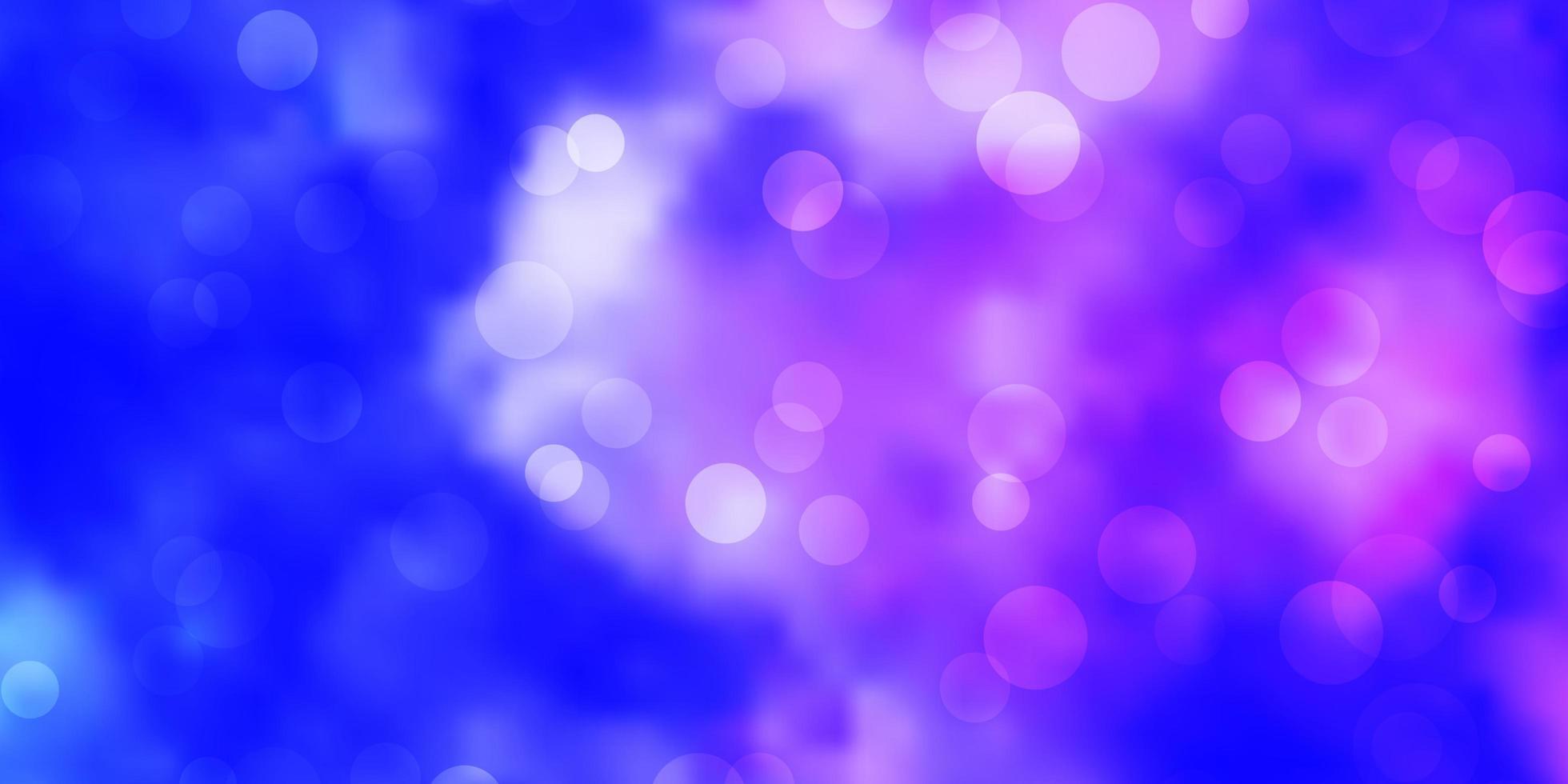 patrón de vector rosa claro, azul con círculos.