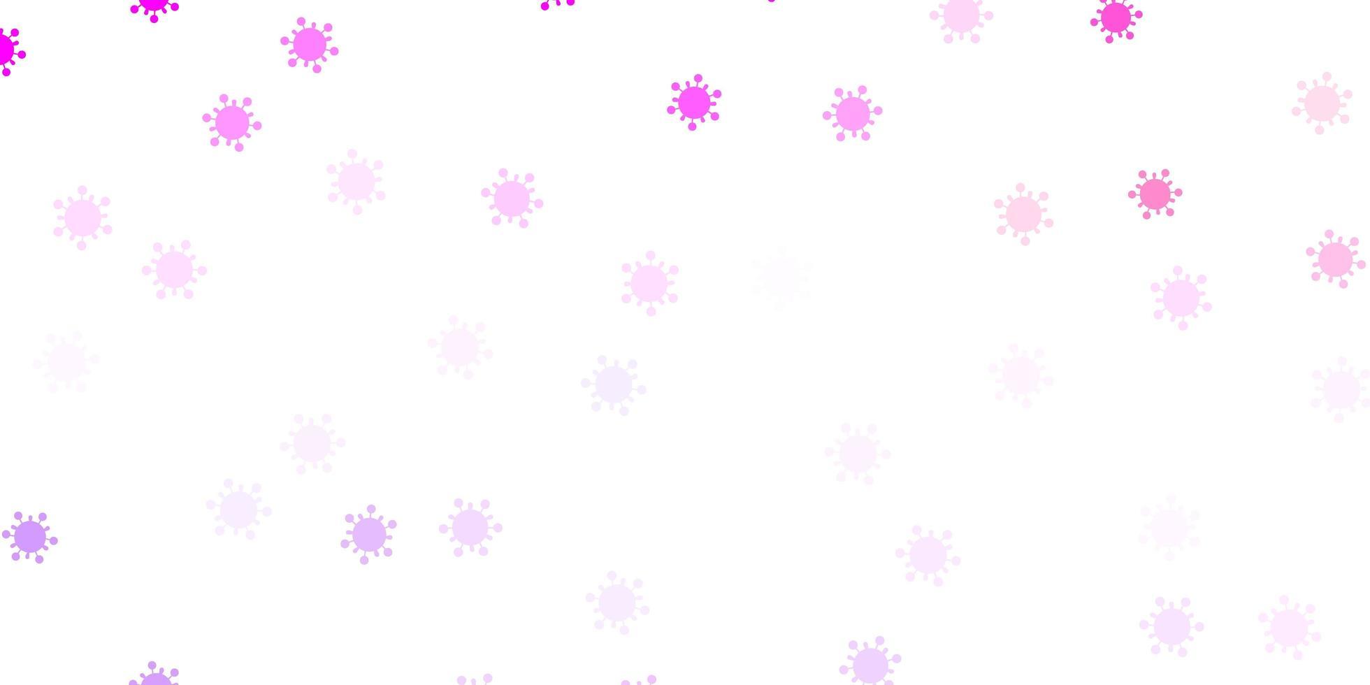 Telón de fondo de vector violeta claro, rosa con símbolos de virus