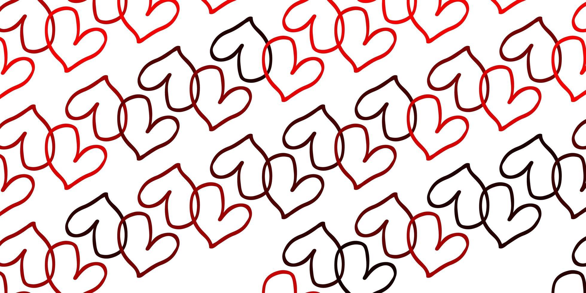 Fondo de vector rojo claro con corazones.