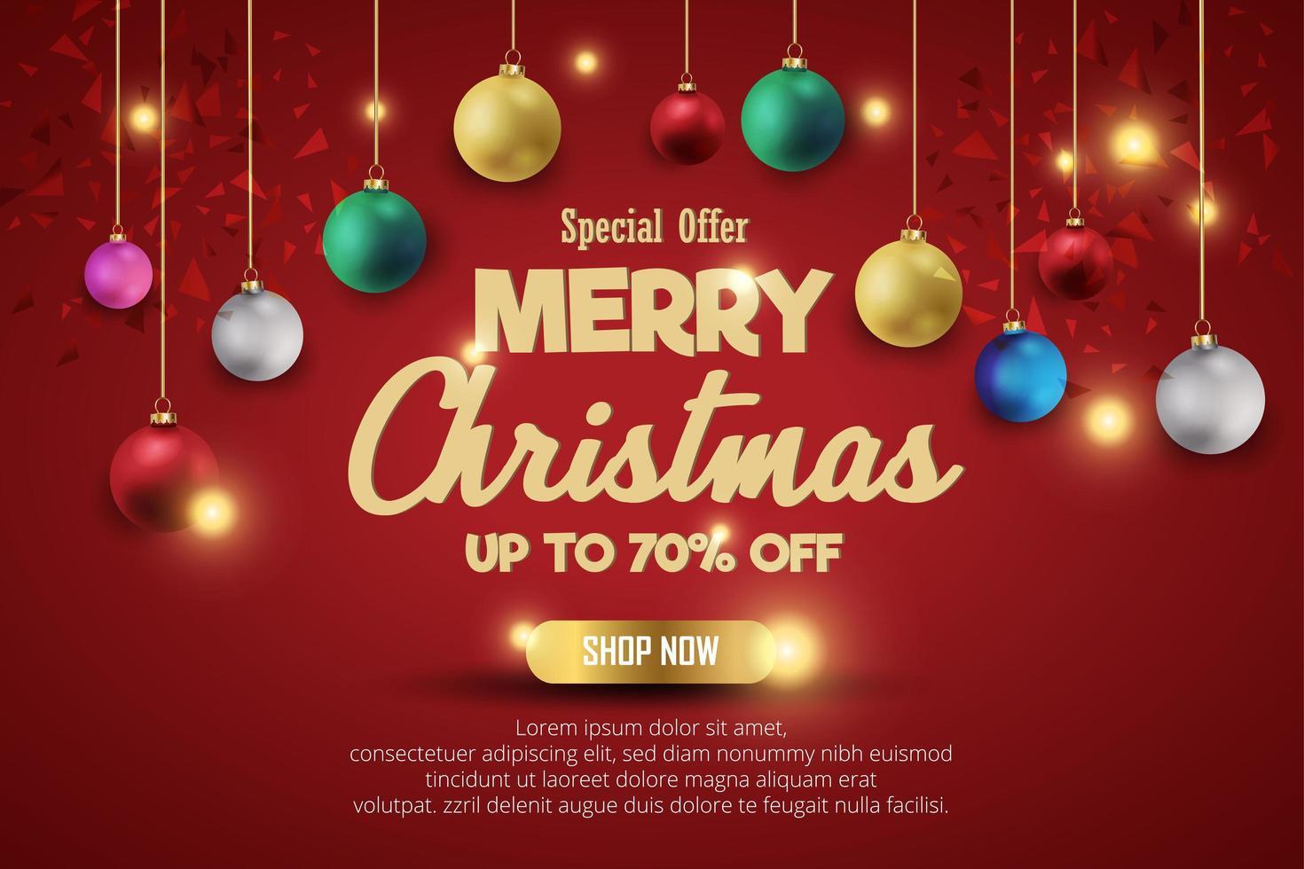 Banner de venta de Navidad para el producto actual sobre fondo rojo. envía un mensaje de texto a la tienda de feliz navidad ahora. vector