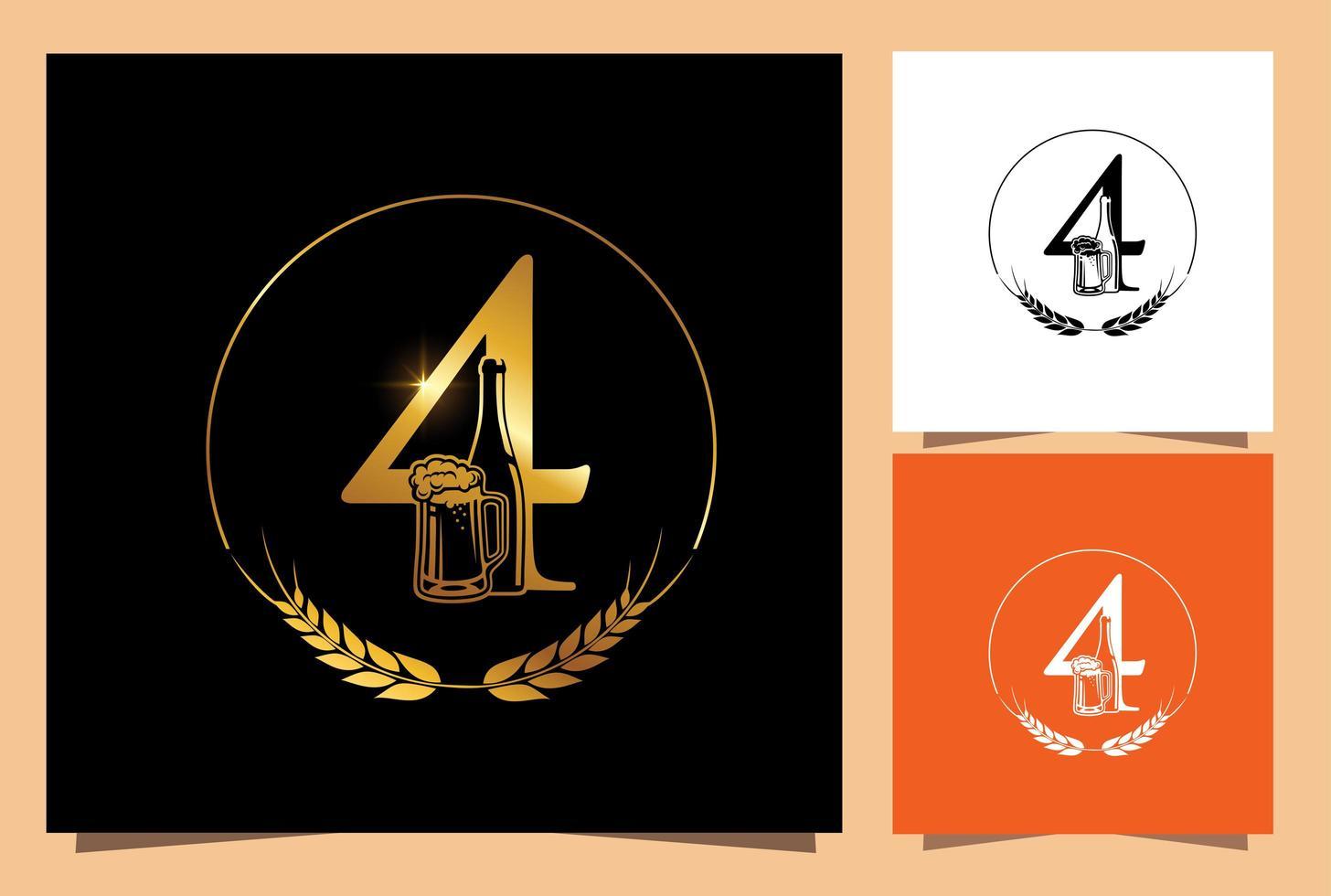 vaso de oro y botella de cerveza numérico 4 vector
