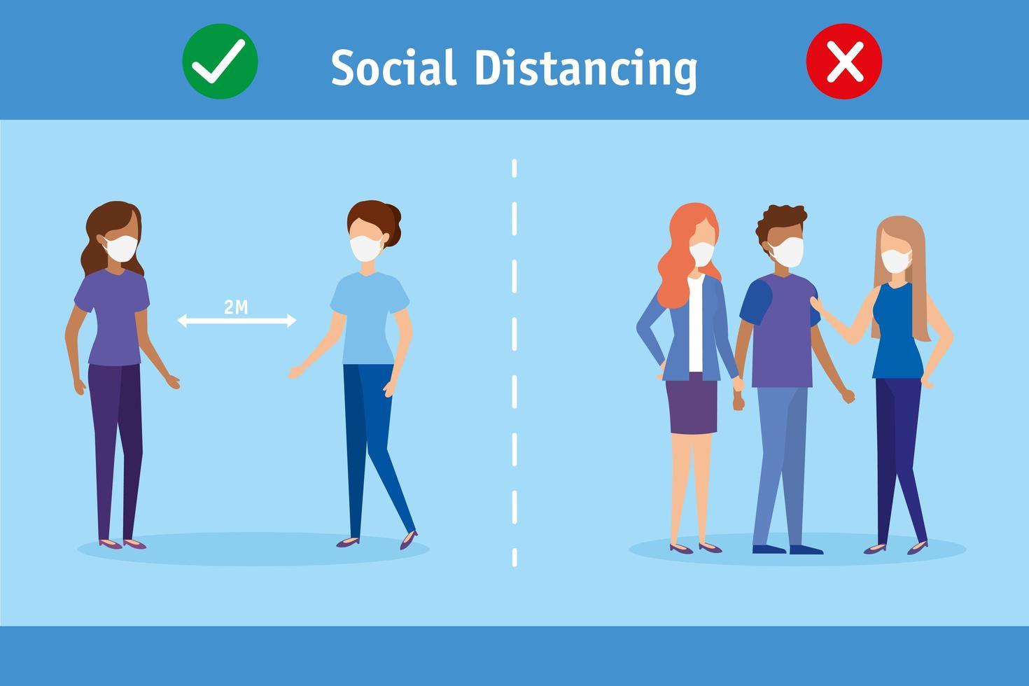 Social distance campaign for coronavirus prevention vector