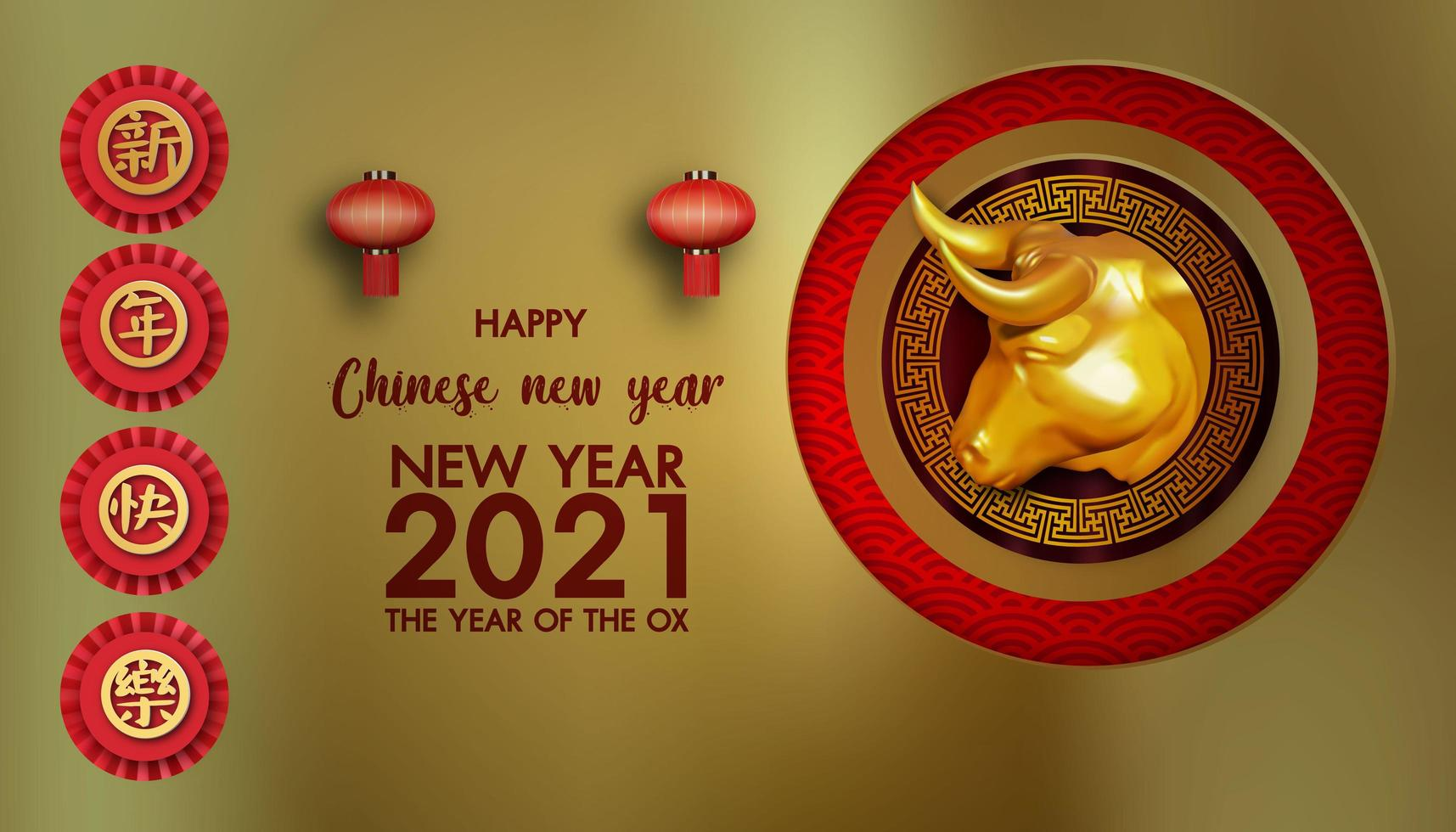 Happy chinese new year 2021, year of the ox vector