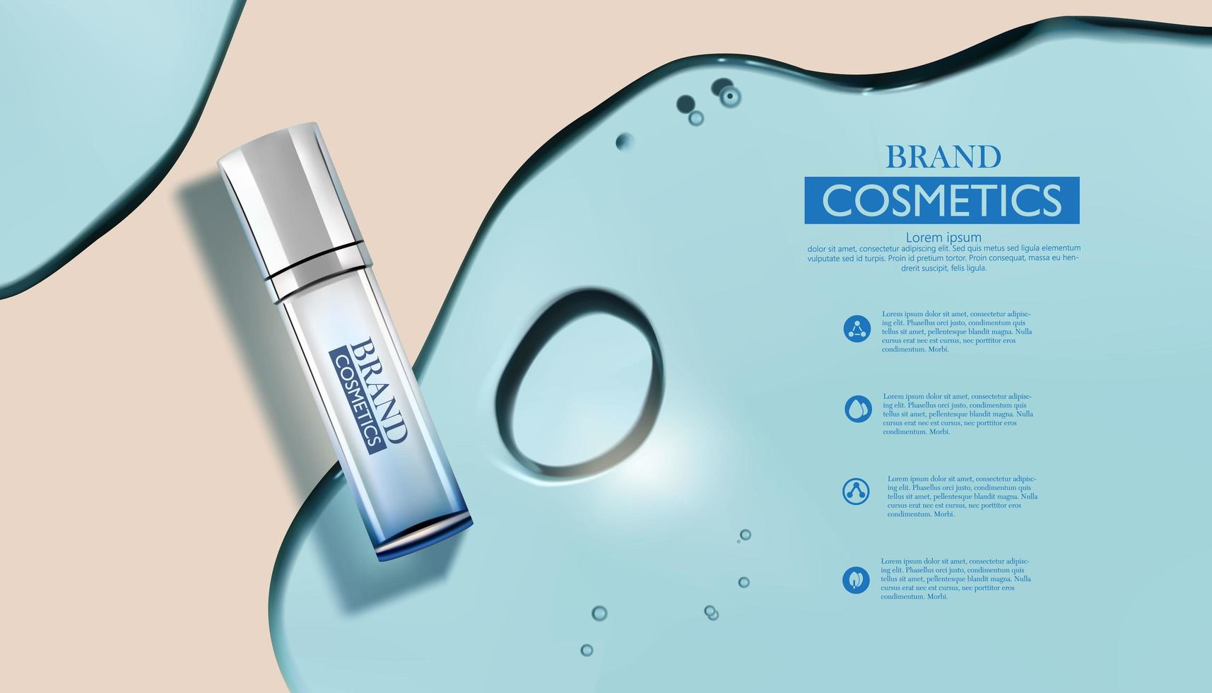 Cosmetic products in water gel. vector