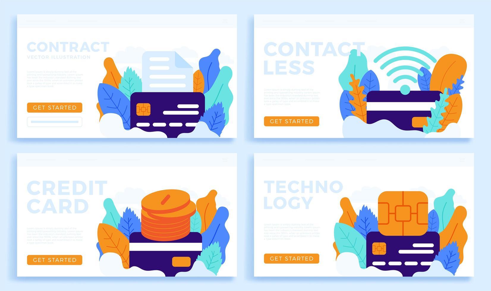conjunto de diseño de tarjeta de crédito sin contacto vector