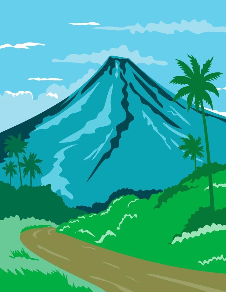 volcán en filipinas poster art vector