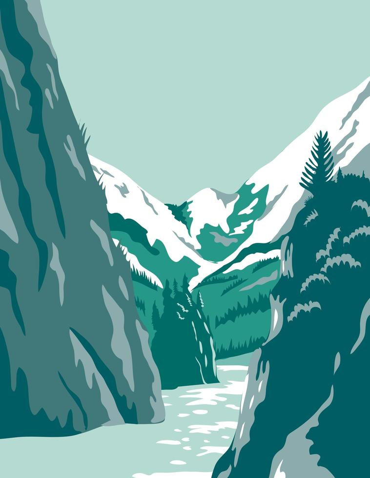 fiordos en alaska poster art vector