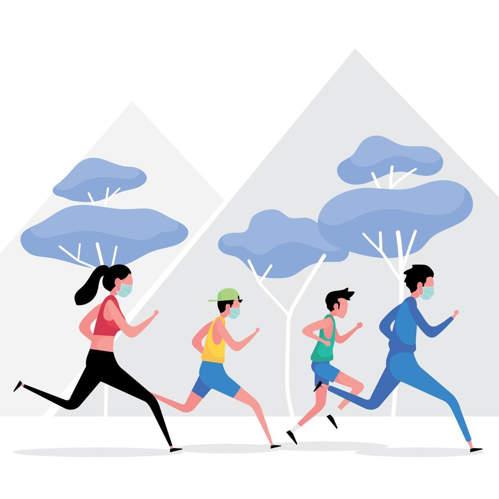 new normal exercise picture features a group of people running while keeping distance vector