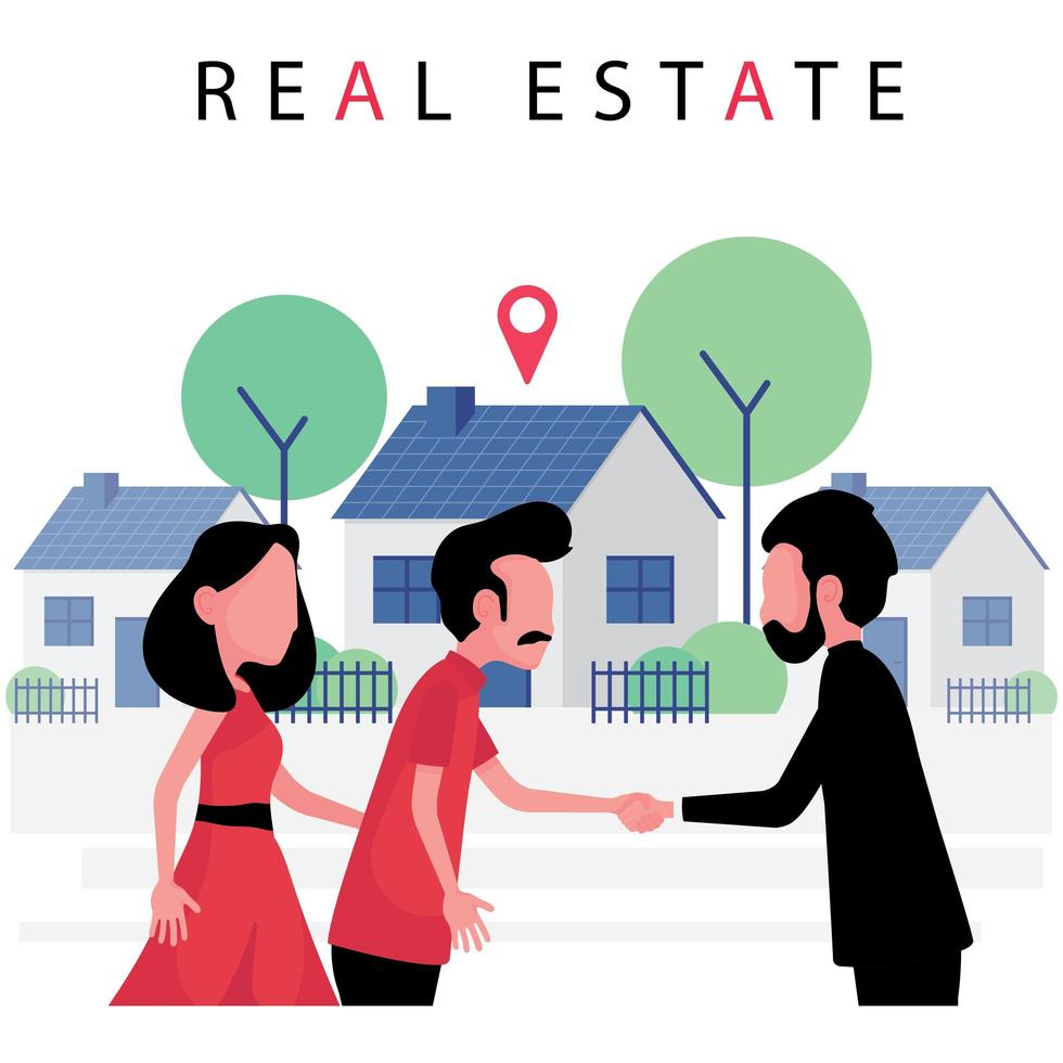 Real estate business featuring a couple buying a new house from realtor vector