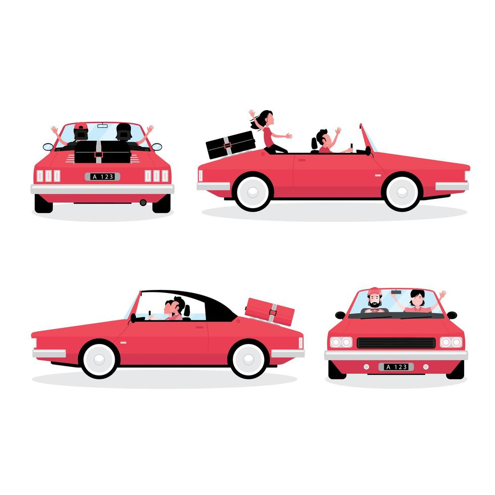 A cartoon showing traveling by car vector