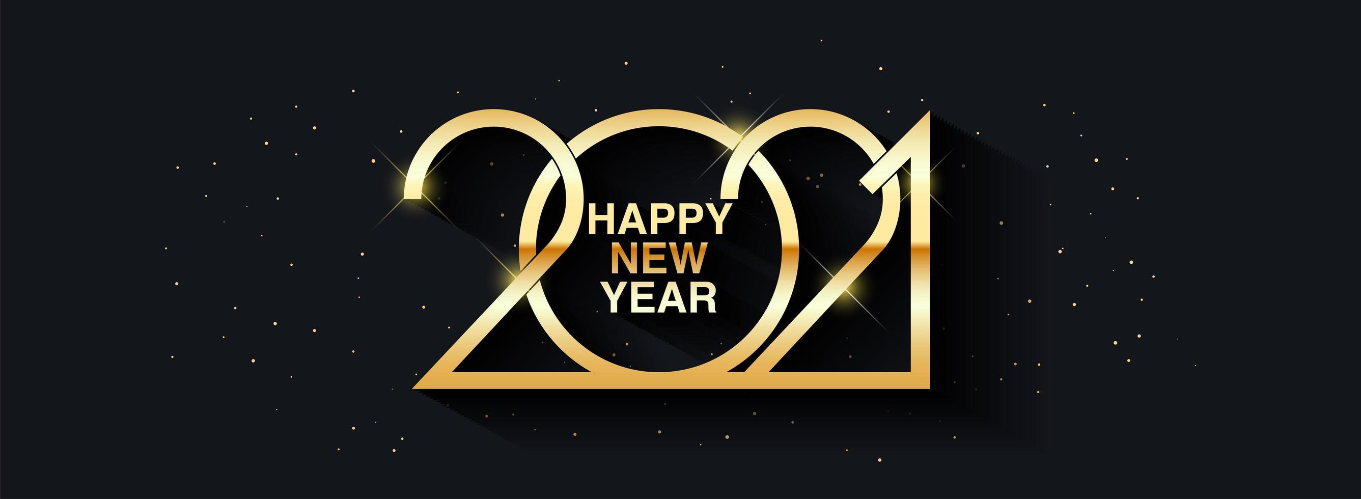 feliz año nuevo 2021 diseño de texto. Ilustración de saludo de vector con números de oro.