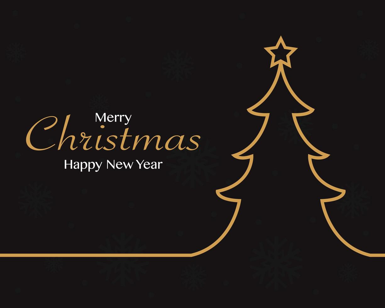 Merry christmas happy new year with christmas tree background vector