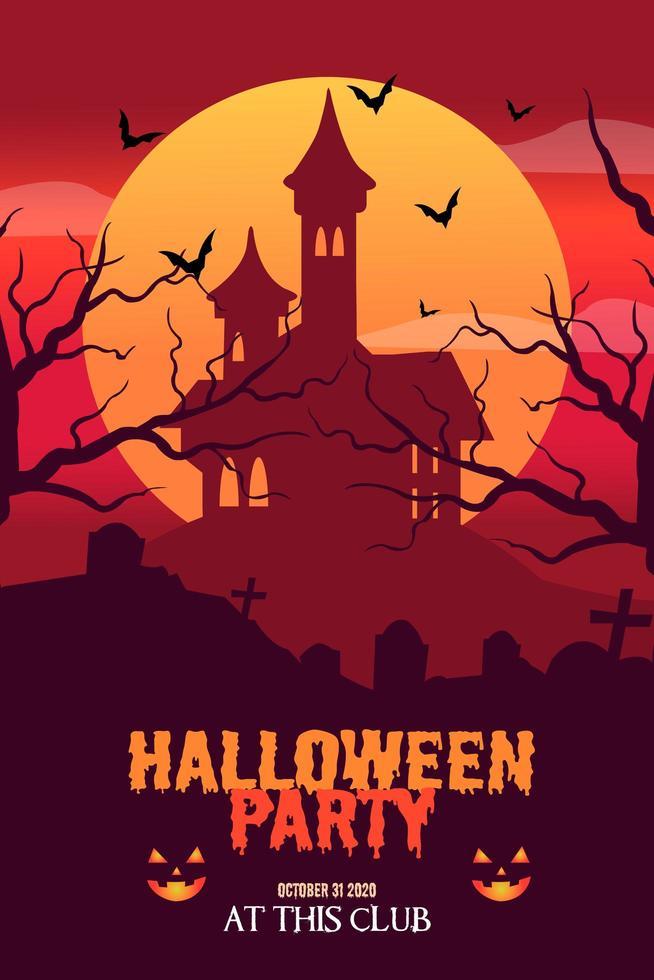 vector de plantilla de cartel de fiesta de halloween de diseño plano
