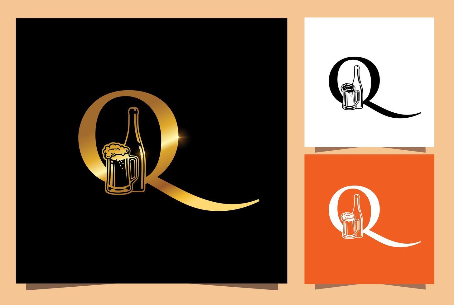 vaso y botella de oro monograma de cerveza letra inicial q vector