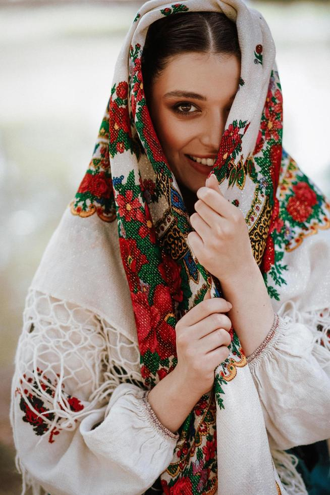 Beautiful girl in a traditional ethnic dress photo