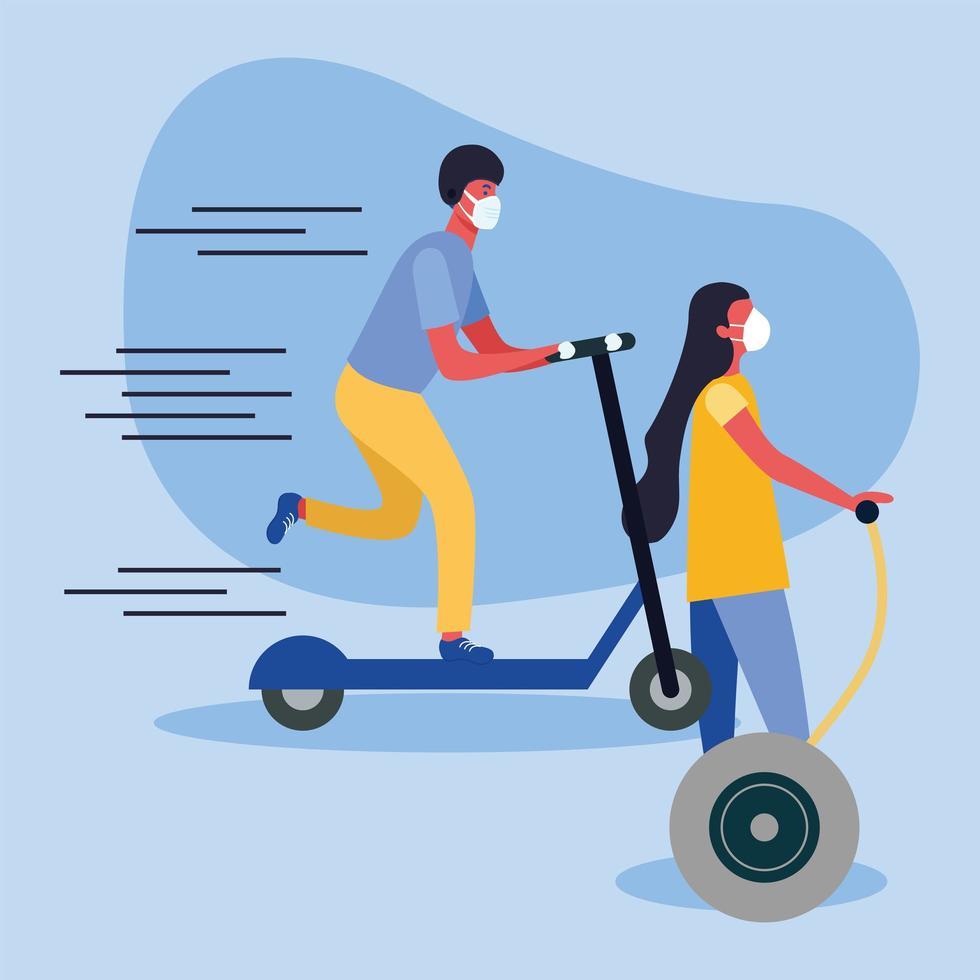 Mujer y hombre con máscara médica en scooter y diseño vectorial hoverboard vector