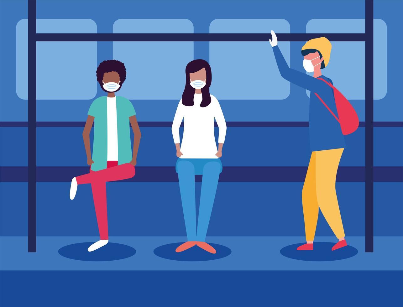 Personas con máscaras médicas dentro del diseño del vector del autobús