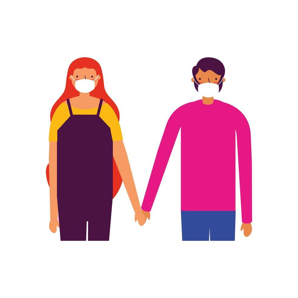 Pareja de hombre y mujer con diseño de vector de máscaras médicas