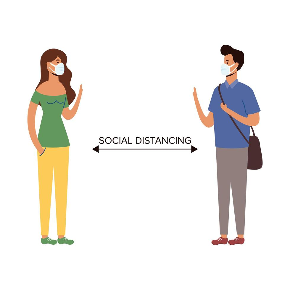Social distancing between man and woman with masks vector design