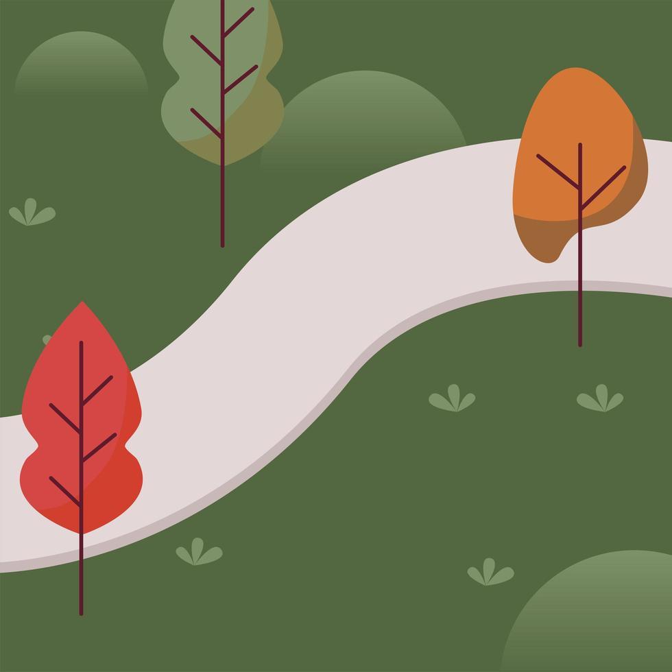 paisaje del parque con árboles y diseño de vectores de carreteras