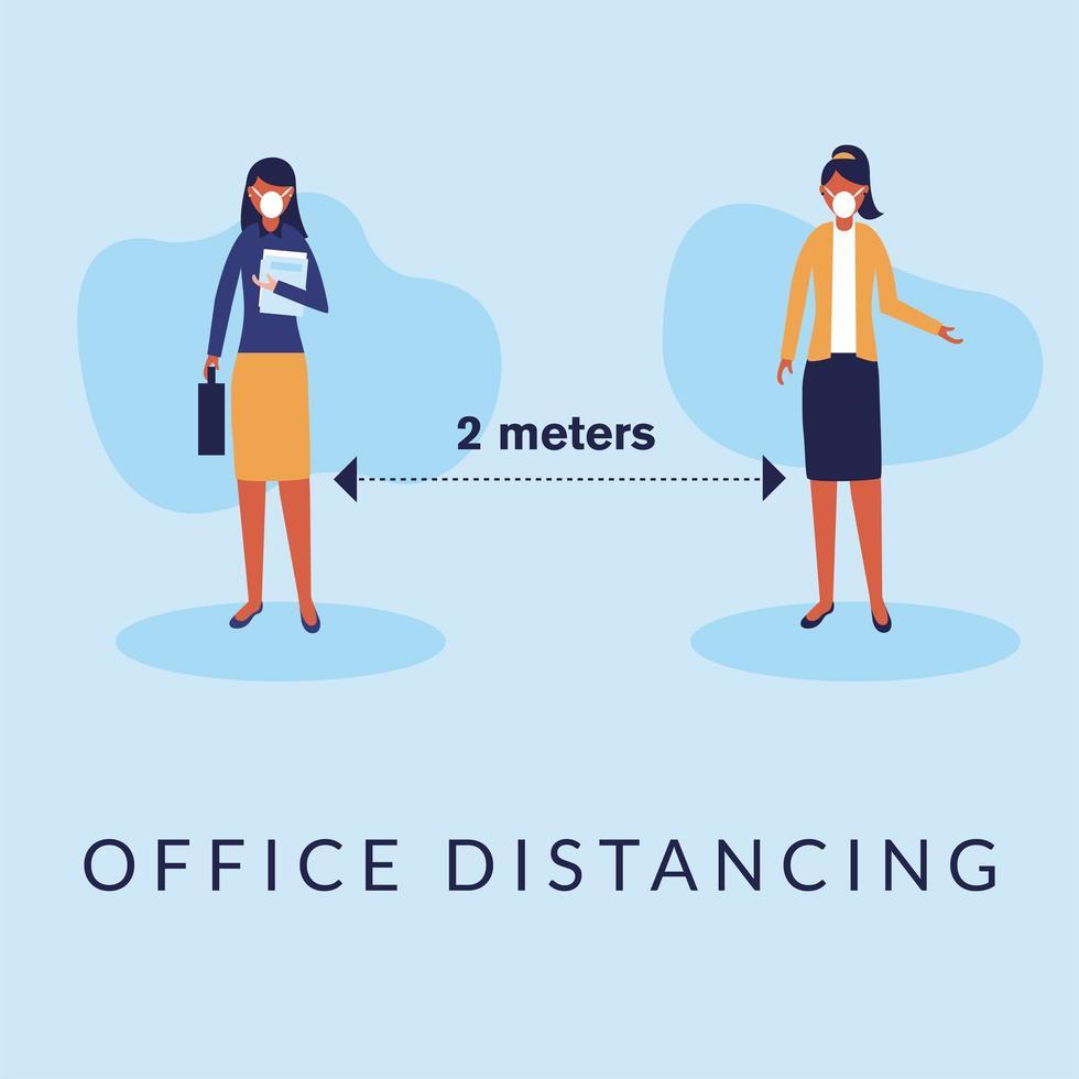 Office distancing between women with masks vector design