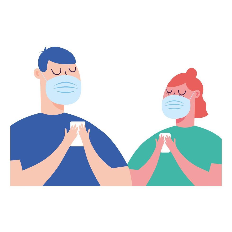 Mujer y hombre con máscara médica con diseño de vector de teléfono inteligente
