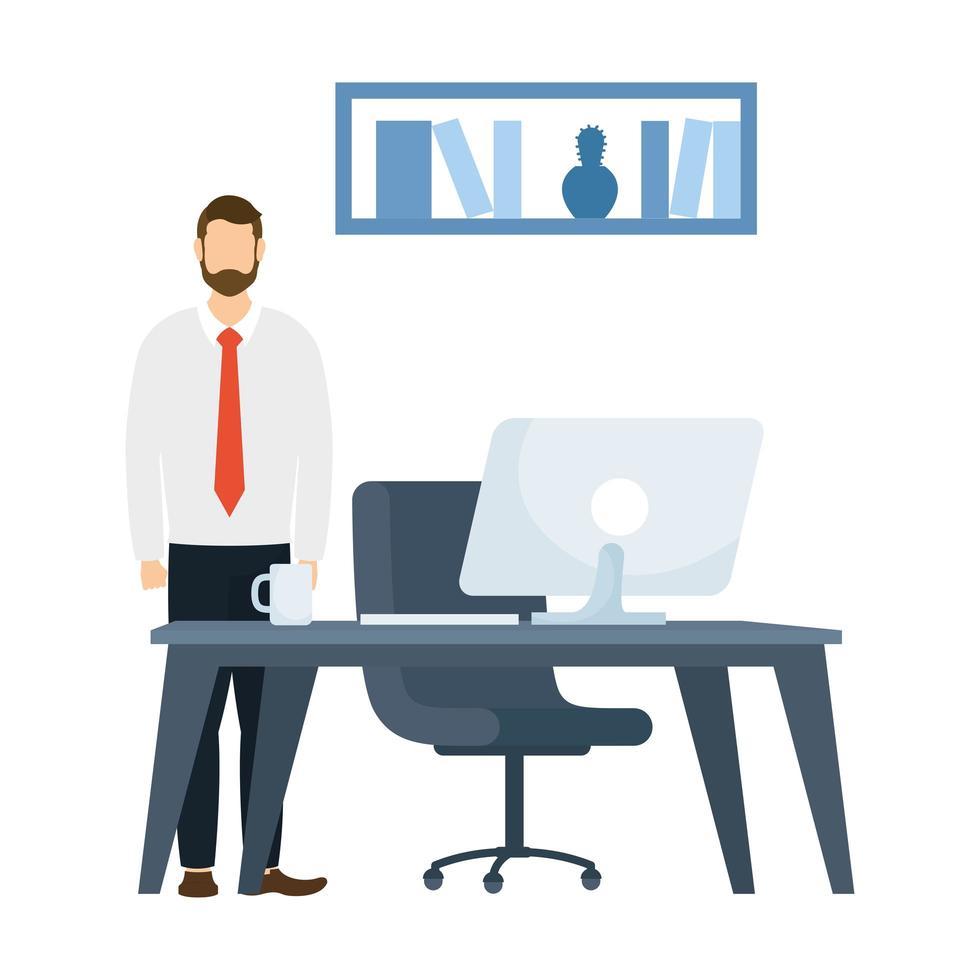 hombre y escritorio con diseño de vector de computadora
