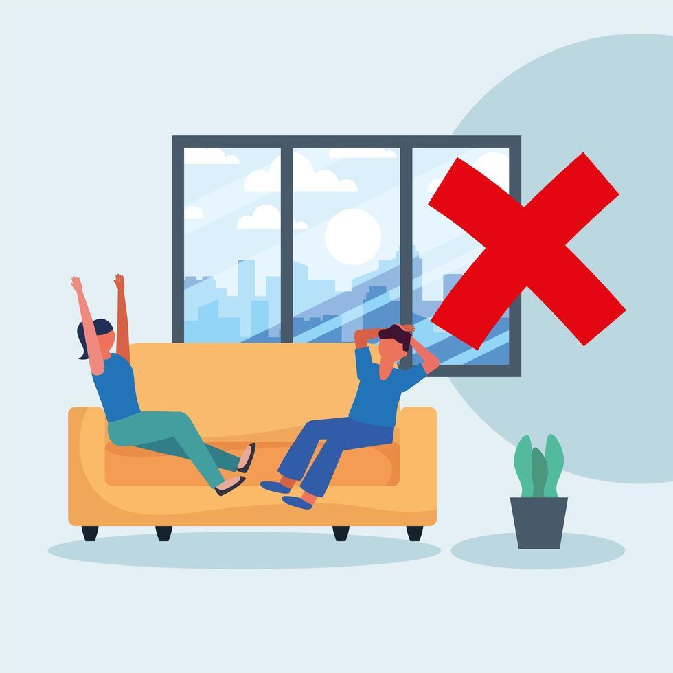distanciamiento de la oficina entre el hombre y la mujer en el diseño del vector del sofá
