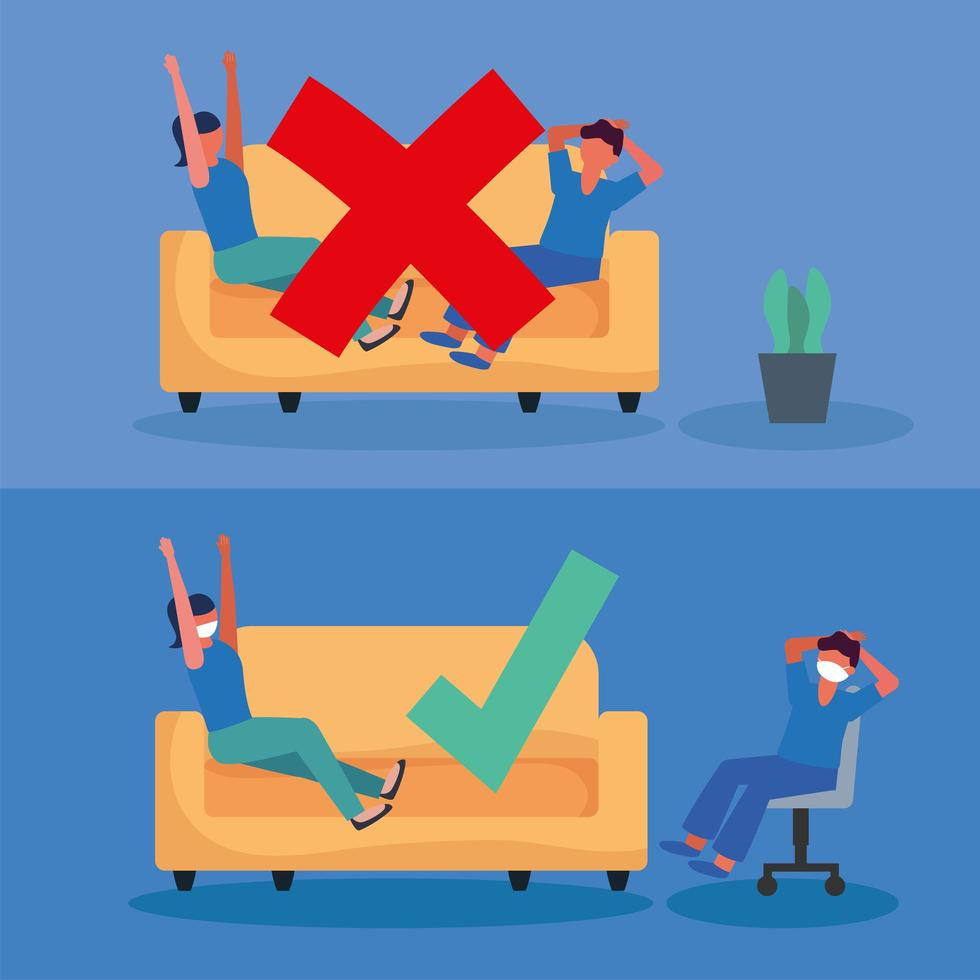 Office distancing between man and woman with mask on couch vector design