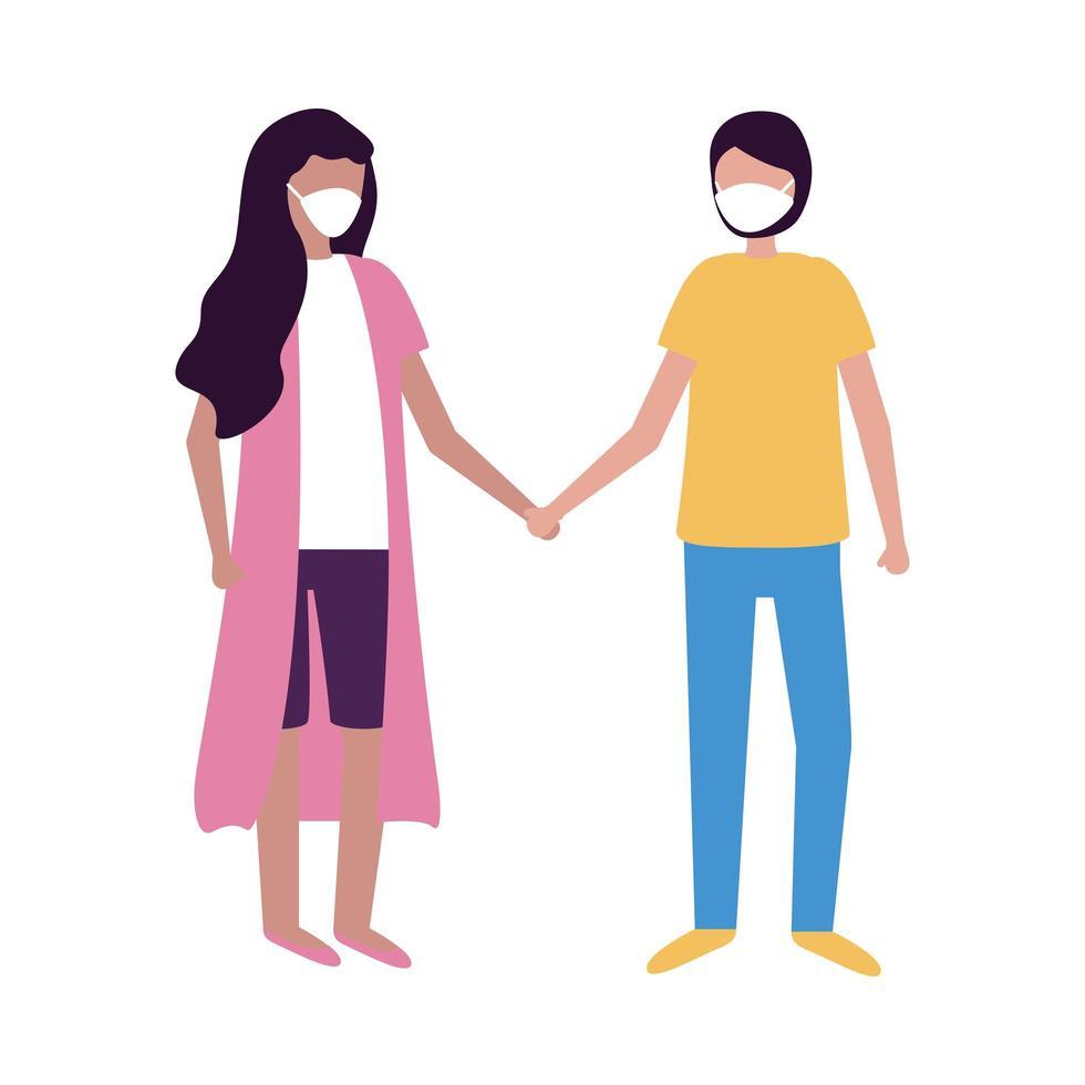 Mujer y hombre con diseño de vector de máscara médica
