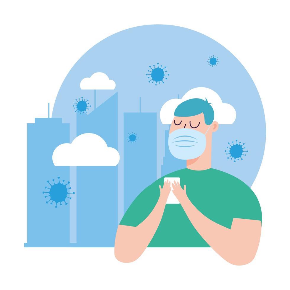 Hombre con máscara médica y diseño vectorial de teléfono inteligente vector