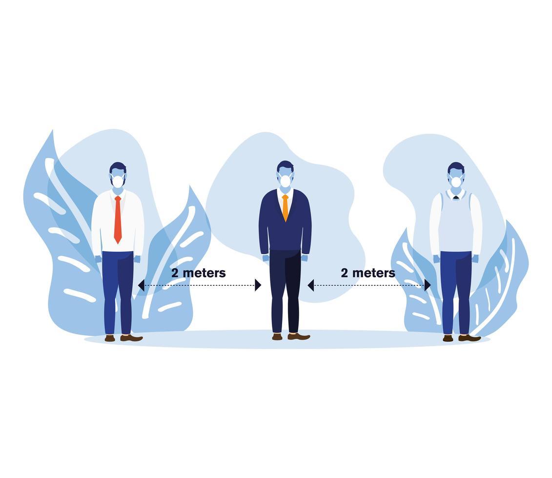 distanciamiento de oficina entre hombres con máscaras y hojas de diseño vectorial vector