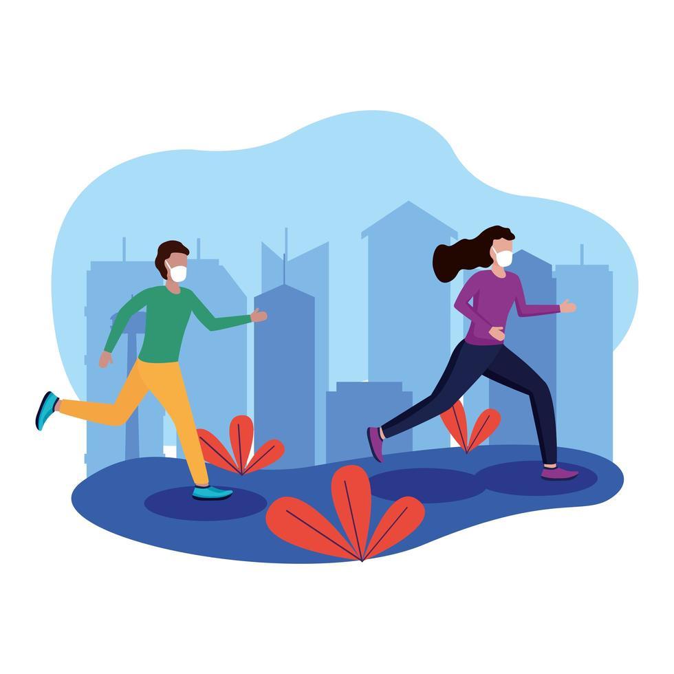 Mujer y hombre con máscara corriendo en el diseño de vectores de la ciudad