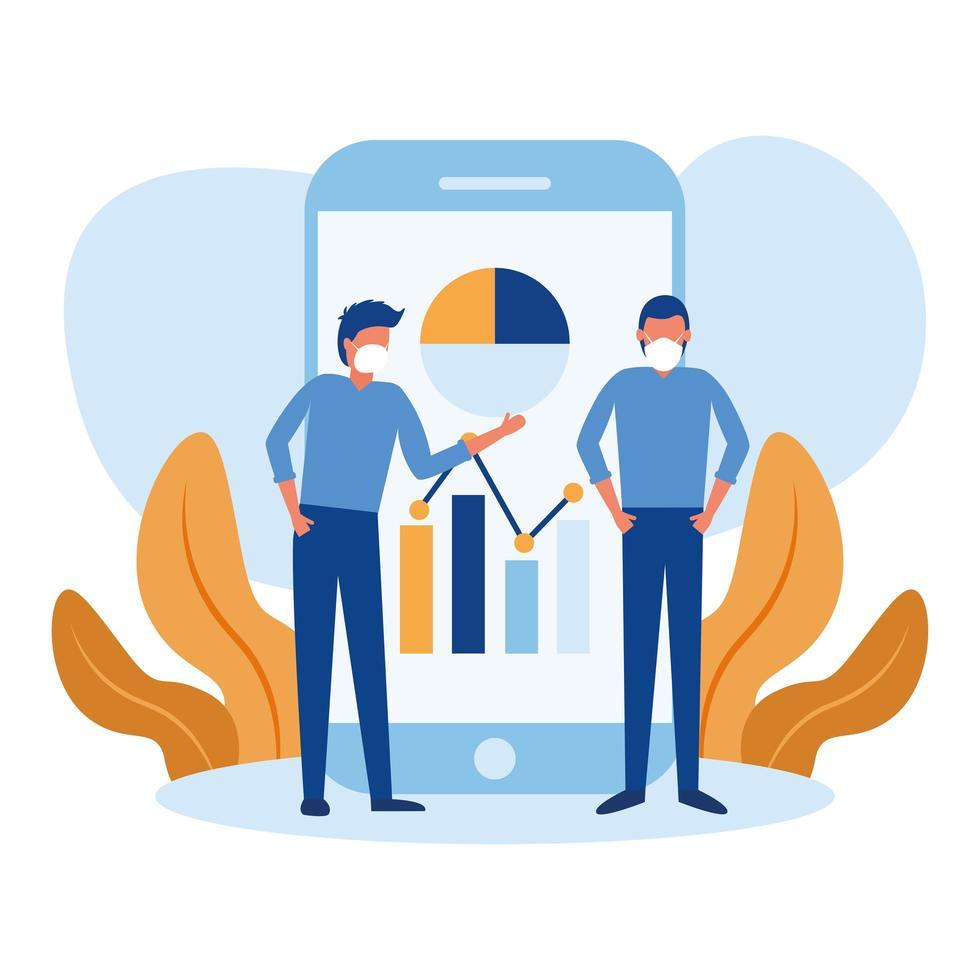 Hombres con máscaras e infografía sobre diseño de vectores de teléfonos inteligentes