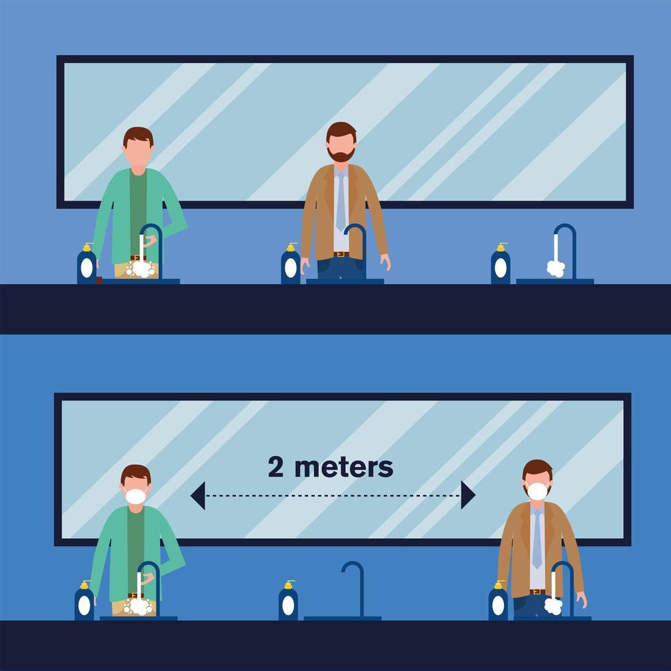 distanciamiento de oficina entre hombres con máscaras en el diseño de vectores de baño